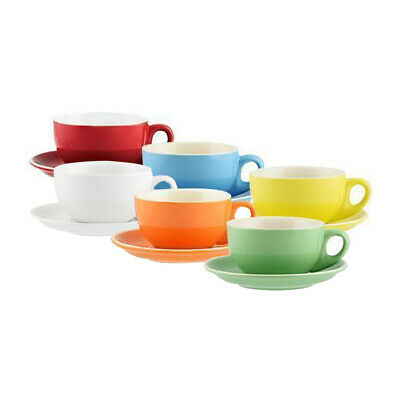 6x Cappuccino Cup & Saucer Bright Colours 220mL Rockingham Cafe Restaurant Bar