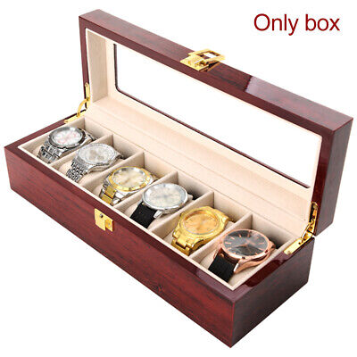 6/10/12 Grids Wood Watch Display Case Jewelry Collection Storage Holder Box Gift