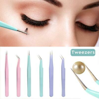 2pcs Antistatic Colored Straight/Elbow Tweezers For Grafting Eyelash Extension