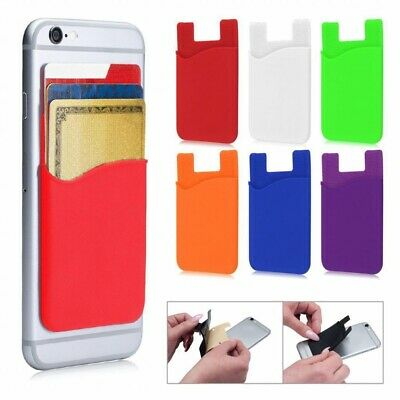 9Pcs Silicone Wallet Credit ID Card Adhesive Holder Case for Smart Phone Black
