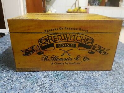 Large Wooden Cigar Box - Red Witch - Empty