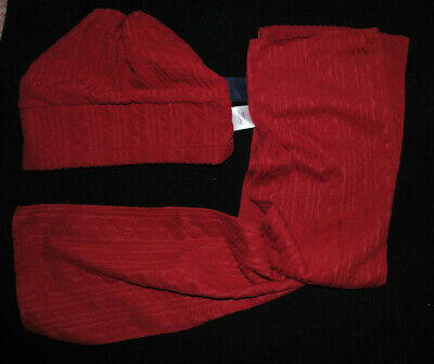 New Cotton Traders Red Fleece Hat And Scarf Set