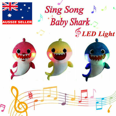 2019 Baby Shark Plush Singing Plush Toys Music Dolls English Song LED Light AU