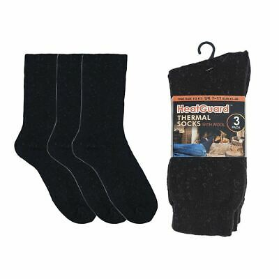 Mens Thermal Black Socks by Heatguard with Wool - 3 Pack