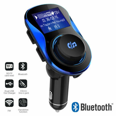 Bluetooth Car FM Transmitter Fast Dual USB Charger MP3 Player Hands-free AUX Kit