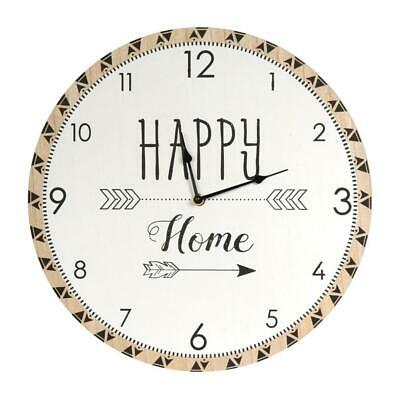 THE HOME DECO FACTORY HD4557 Horloge 60 cm, Bois, Blanc-Marron, 39,8 x 3,5 x...