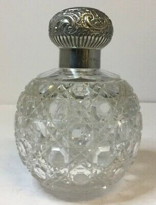 Antique Victorian Silver Topped & Cut Glass Perfume Scent Bottle, B'ham 1876.