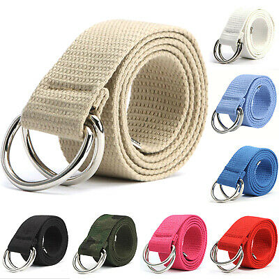 Mens Womens Unisex Canvas Braided Double D Ring Buckle Belt Waistband Strap Band