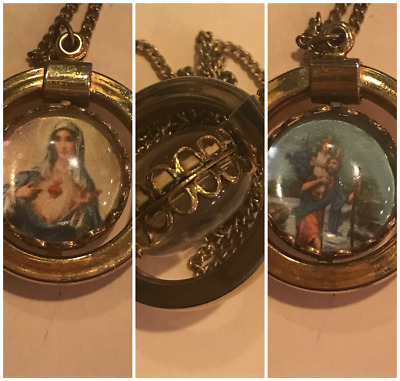 Very Unique Vintage Double Sided Religious Necklace / Jesus/Child/Holy Mother