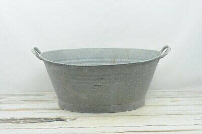 Vintage Galvanized Zinc Metal Oval Farmhouse Wash Tub Bath Tub Yugoslavia Label
