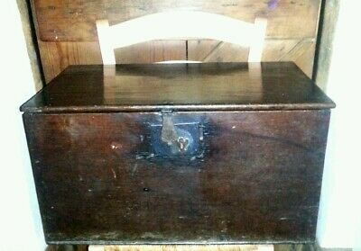 Large Antique Box/Small Coffer with Candle Box Late 1700s (18th Century)