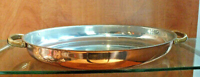 Vintage Copper Oval Roasting Pan Baking Dish Oven Serving Table Brass Handled