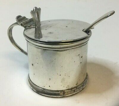 Antique Solid Sterling Silver 925 Mustard Pot & Spoon - Stokes, Chester, 1921