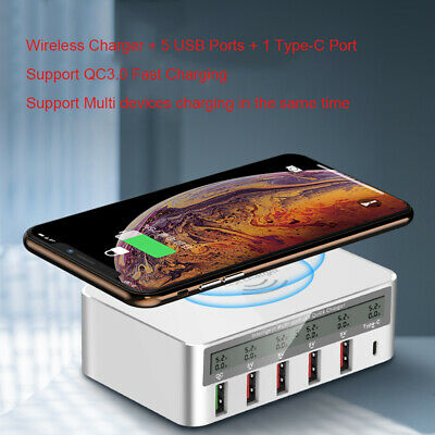 Multi USB Ports Desktop Charger Wireless QC Charging Dock Station Power Adapter
