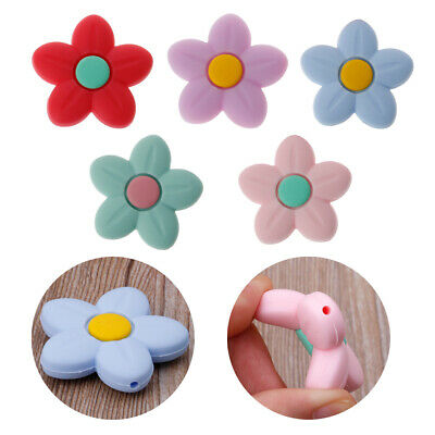 Silicone Beads Flower Shape Charm Teether Baby Teething Jewelry Nursing Necklace