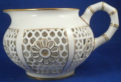 Antique 19thC Sevres Porcelain Honeycomb Reticulated Creamer Milk Pot Porcelaine