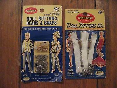 Vtg Clinton Doll Zippers•Snaps•Buttons Sew Fine! New•For Doll Clothes