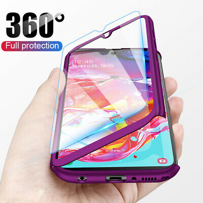 For Samsung Galaxy A20E A40 A50 A70 360° Full Cover Phone Case + Tempered Glass