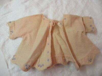 Vintage 1940's Child's Baby's pink flannel Coat embroidered blue flowers