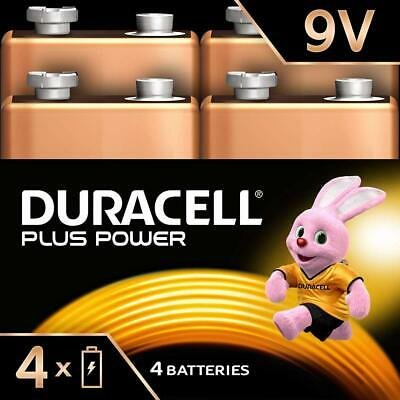 Duracell Plus Power Piles Alcalines type 9V, Lot de 4 Pack of 4
