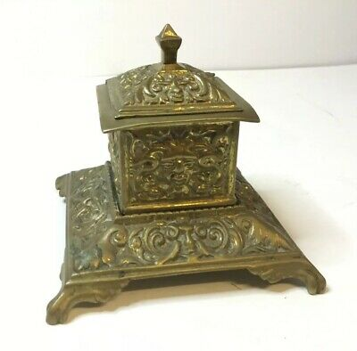 Antique Brass Inkwell Ink Well Ornate Decoration