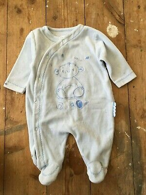 John Lewis Bear Baby Grow All-in-One Sleepsuit Blue White Stripe 0-3 Months