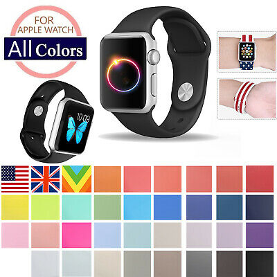 Replacement Silicone Sport Watch Band For Apple Watch Series 4/3/2/1 42mm 38mm