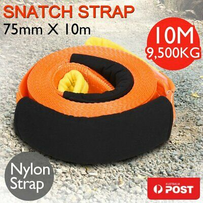 75mm x 10M Snatch Strap Winch Extension 9.5TON 4WD Recovery Kit Tow Strap &Vests