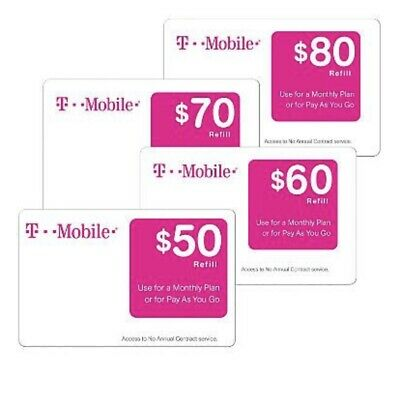 T-Mobile $80 Prepaid Refill Card, Air Time Top-Up/Pin RECHARGE