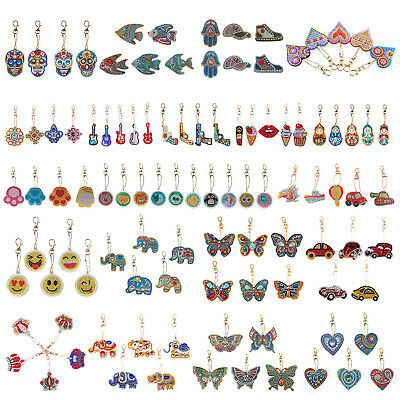 5pcs DIY Full Drill Diamond Painting Key Chains Keyring Keychains for Bags Totes