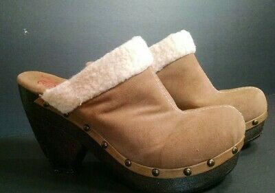 Big Buddha Faux Suede Clogs Womens 8M High Wedge Brown Studs Faux Fleece Trim