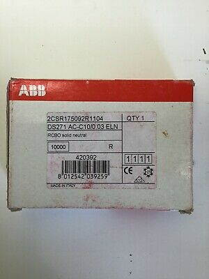 Abb 10Amp Rcbo 30Ma 10Ka  C Type Long Lead 3Phase Boards Ds271Ac-C10/0.03 (B161)