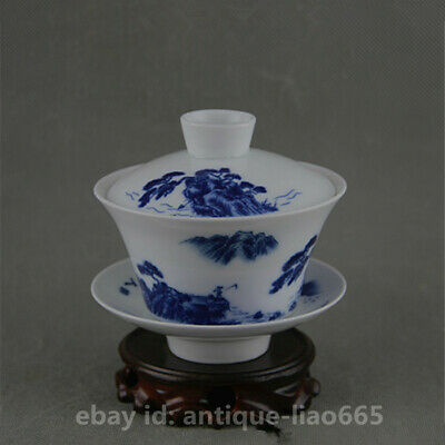 """4.1""""Chinese Blue White Porcelain Mountains Rivers Tea Cover/Saucer/Gongfu Teacup"""