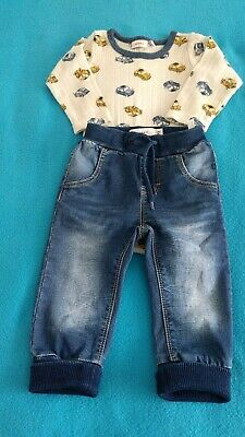 Baby Boys Outfit Size 4-6 Months Denim Joggers & Body Excellent Condition