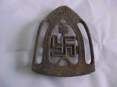 Antique Cast Iron  Good Luck Swastika Symbol Trivet Sad Iron Holder/Stand