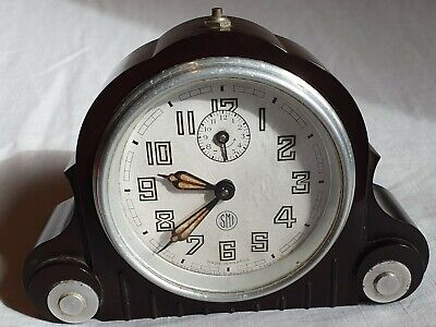 French Vintage 1930s Art Deco Bakelite SMI Working Mantle Alarm Clock