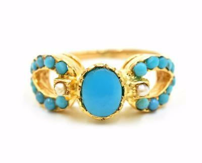 22k Yellow Gold Persian Light-Blue Turquoise Fashion Ring with Seed Pearls