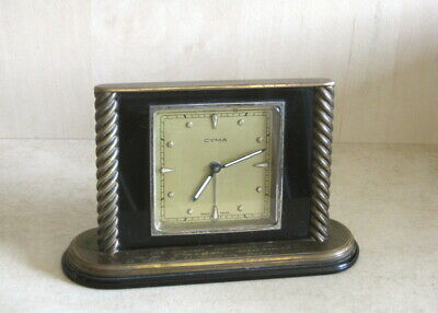 1950 Vintage Swiss Cyma Alarm Clock Brass Art Deco Working