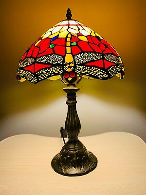 Tiffany Lamp Red Yellow Stained Glass and Crystal Bead Dragonfly Style