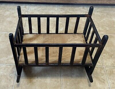 Antique Rocking Wood Doll Cradle Early 1920's Primitive Handmade