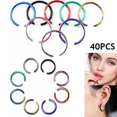 40PCS Nose Ring Septum Ring Hoop Cartilage Tragus Helix Small Piercing Jewelr TW