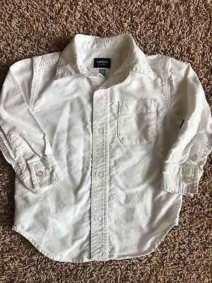 Boys Toddler Kids Carters Collared Long Sleeve Button Up Down White Shirt Top 3T