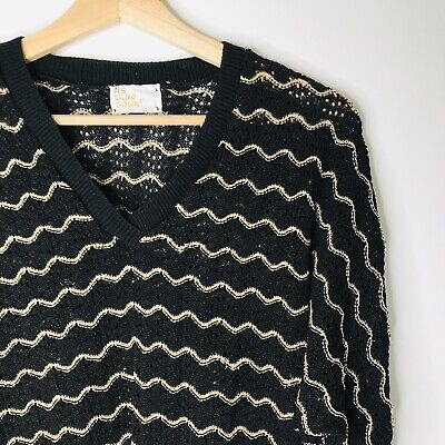 a829017eeb3363 Vintage Vtg It's Pure Gould Sweater Black Gold S M Women's 70's 80's USA  Made
