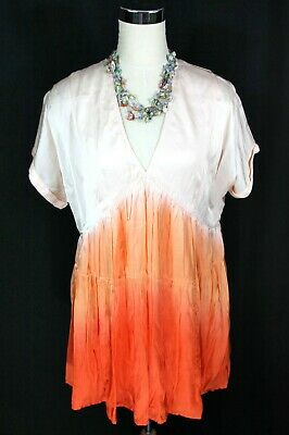 NWT Free People Peach Ombre Dip Dye Satin Baby Doll Short Sleeve Dress - S M L
