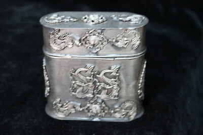 Old Tibet Miao Silver Carve Exorcism Dragon Phoenix Collectable Toothpick Box