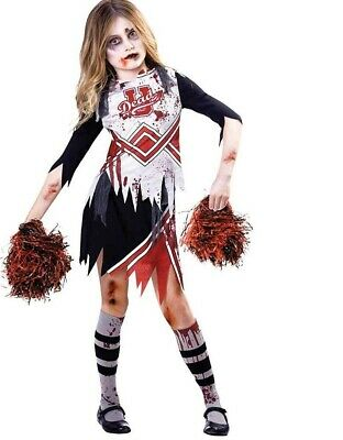 Child Girls Zombie Cheerleader Fancy Dress Costume Kids Halloween High School