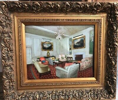 Vintage Interior Sitting Room Scene Oil Painting And Frame 31x27