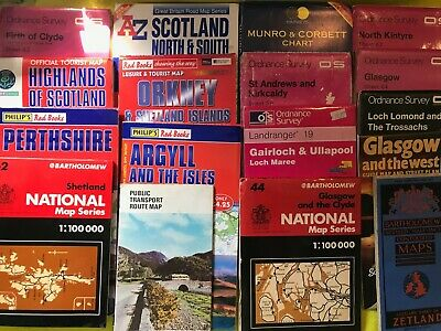 Collection / Bundle of 17 Maps of Areas of Scotland Ordnance Survey etc