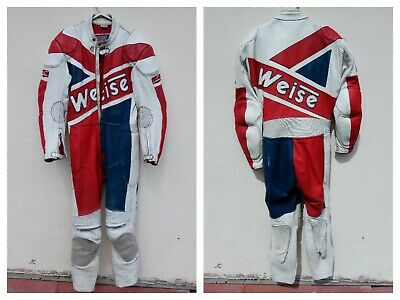 """Weise mens vintage white red blue leather one piece bike racing suit 40"""" chest"""