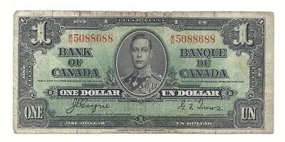 1937 CANADA ONE DOLLAR BANK NOTE (BC-21d)